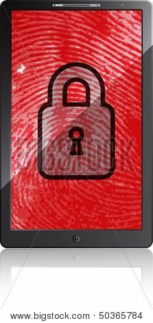 Mobile phone with fingerprint and padlock on a white background