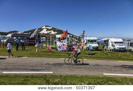 Amateur Cyclist On The Road Of Le Tour De France