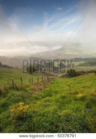 misty yorkshire valley in autumn
