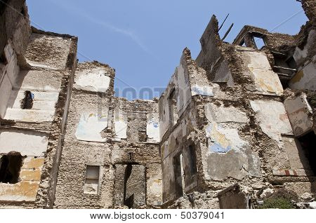 Destroyed Building, Demolition, Earthquake, Bomb, Terrorist Attack Or Natural Disaster