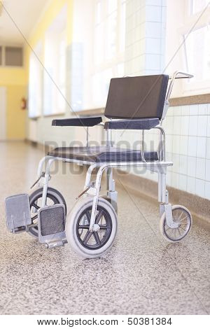 Hospital Invalid Chair On Hospital Corridor