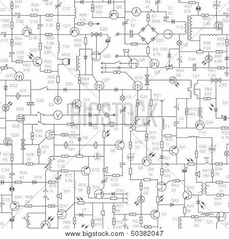 Seamless Background Of Electrical Circuit With Signatures.