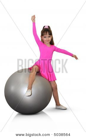 Girl  Fitness-ball Pink Sport