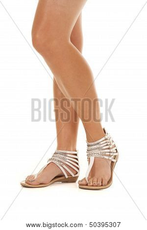 Woman Strap Shoes Legs Stand