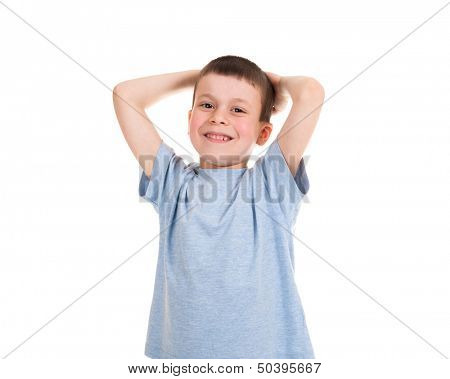 boy put his hands behind his head
