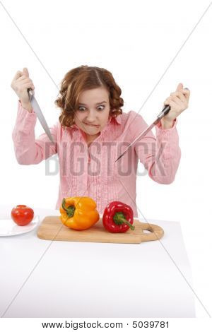 Woman Wants To Eat Sweet Peppers.