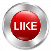 Like button. Rate icon. Vector red round sticker. Metallic icon with gradient. Isolated. poster