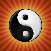 Beveled yin yang symbol on red rays background poster