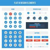 Flat UI basic design elements set - icons buttons progress bars. Vector illustration. Light colors. poster