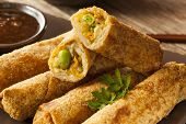 Homemade Chinese Vegetable EggRolls with Soy Sauce poster