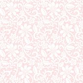 Seamless pink background with white lace fabric pattern poster