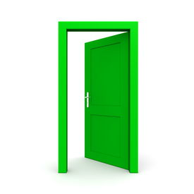 Open Single Green Door