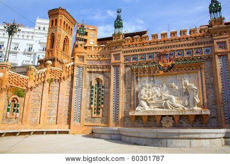 Aragon Teruel Amantes fountain in La Escalinata and Mudejar towers in Spain