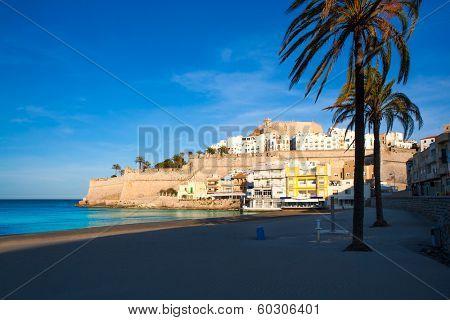 Peniscola Castle and beach in Castellon Valencian community of spain
