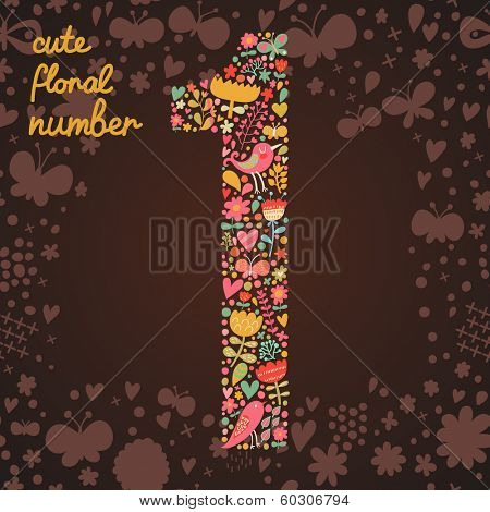 The number 1. Bright floral element of colorful alphabet made from birds, flowers, petals, hearts and twigs. Summer floral ABC element in vector