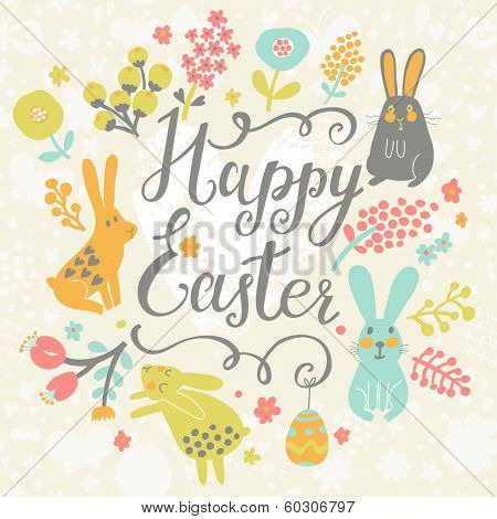 Bright happy easter card in vector. Funny rabbits, chicken, eggs in cute cartoon style. Stylish holiday background