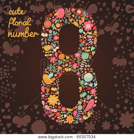 The number 8. Bright floral element of colorful alphabet made from birds, flowers, petals, hearts and twigs. Summer floral ABC element in vector