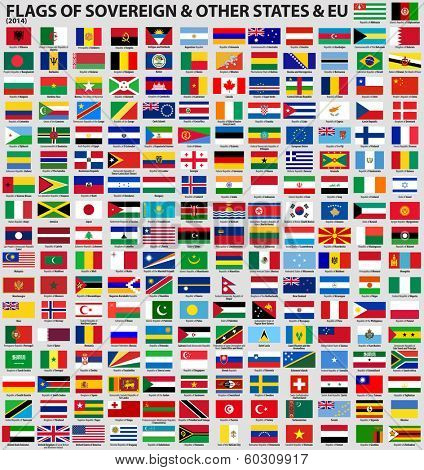 Vector set of Flags of world sovereign states & EU (February 2014). Updated information and flags.