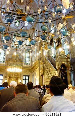 Muslim Believers In The Mosque