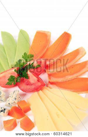Varoius cheese and tomatoes.