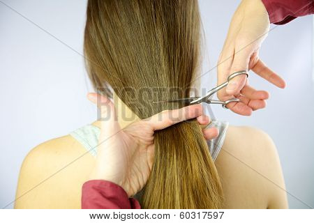 Long Hair Being Cut With Scissors