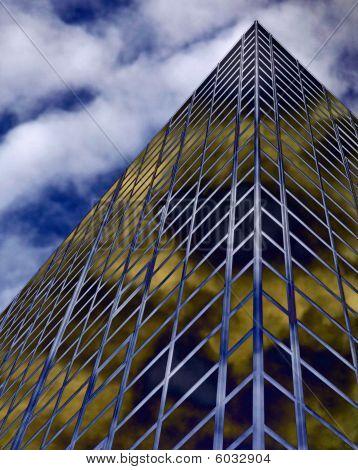 Glass windowed urban office sky scrapers