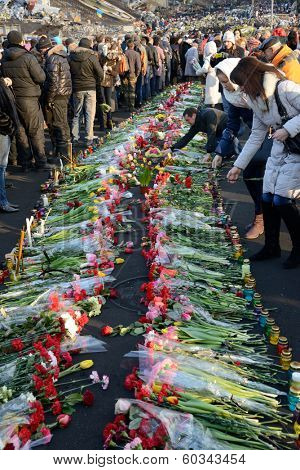 KIEV, UKRAINE - February 24, 2014: Ukrainian revolution, Euromaidan. Days of national mourning for the killed defenders of the Maidan