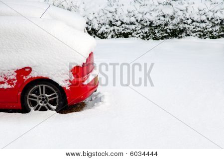 Red Car In The Snow