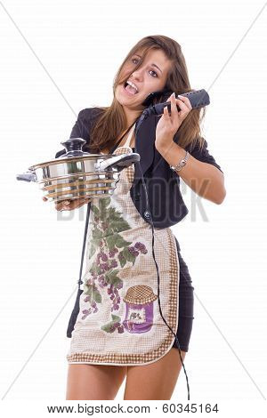 Inexperienced Female Cook Trying To Be Housewife Talking On The Phone