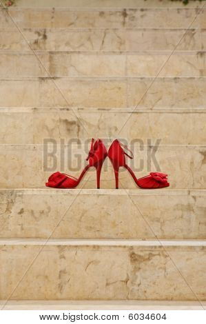 Red Shoes on stairway