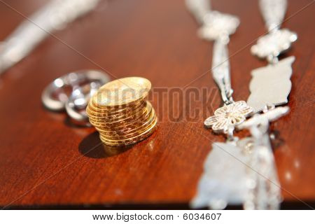 Set of catholic religious wedding symbols. Arras, lasso, rings. poster