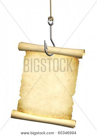 Empty sheet of a paper, hanging on a fishing hook. Isolated on white background