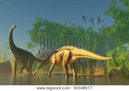 Spinophorosaurus In Swamp