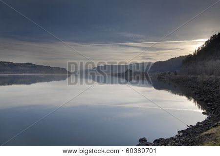 Sunrise Over Columbia River Gorge with Rooster Rocker and Crown Point in the Distant poster