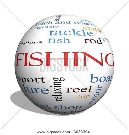 Fishing 3D Sphere Word Cloud Concept