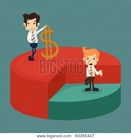 Business Man Standing Over Pie Chart