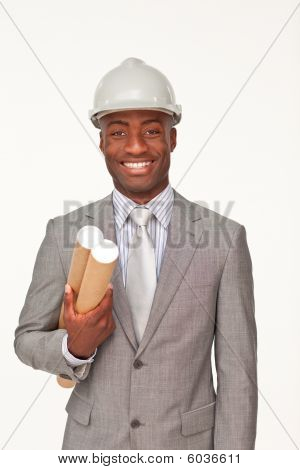 Standing Attractive Ethnic Businessman Against White