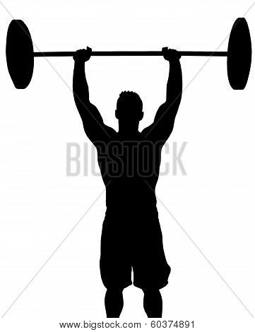Man Weight Lifter with Weight Above Head Silhouette poster