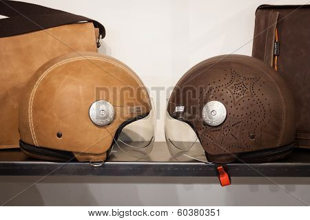 Leather Covered Helmets On Display At Mipap Trade Show In Milan, Italy