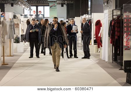 People Visiting Mipap Trade Show In Milan, Italy