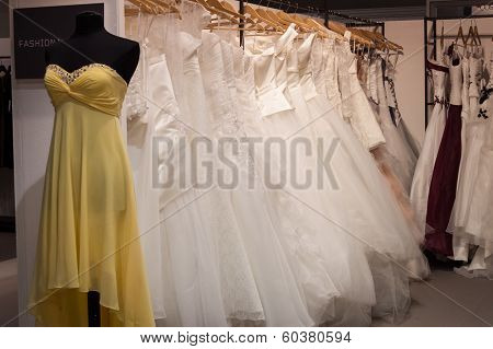 Wedding Dresses On Display At Mipap Trade Show In Milan, Italy