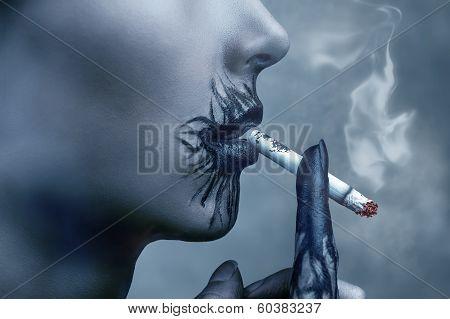 Sick Woman Smokes A Cigarette, Side View