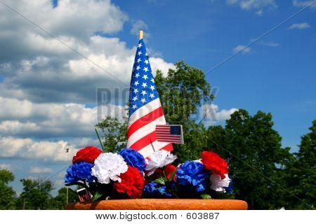 Americana Patriotism - Flag And Carnations