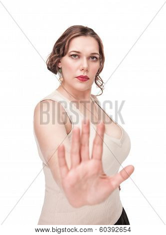 Beautiful plus size woman making stop gesture isolated poster