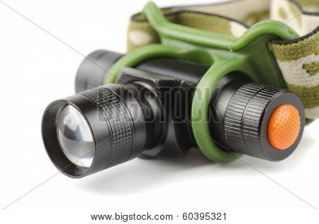 Close up of LED headlamp  isolated on white