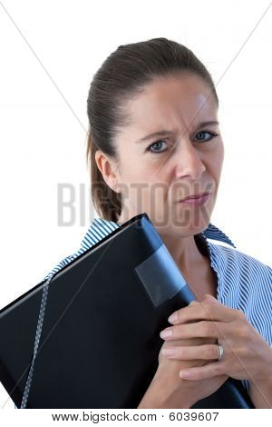 Middle Aged Business Woman Looking Angry With File