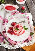 Delicious dessert (panna cotta) with raspberry sauce decorated with fresh berries and mint poster