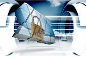 Lock and key on abstract screen against abstract cloud design in futuristic structure poster