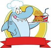 Chef Shark With Plate Of Hamburger,French Fries And Soda Label  Illustration Isolated on white poster