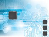 Technology background with integrated circuit and data processor poster
